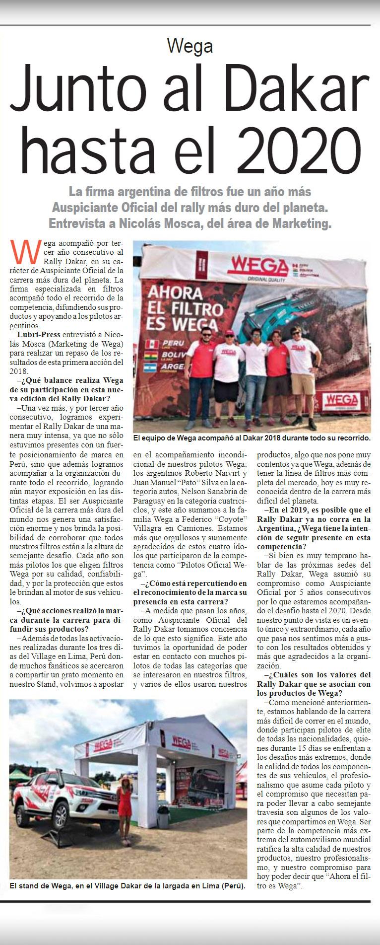Wega Junto al Dakar hasta el 2020